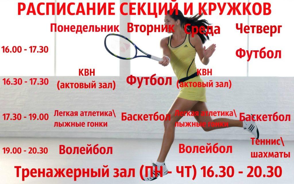 расписание спортиных кружков,17-18