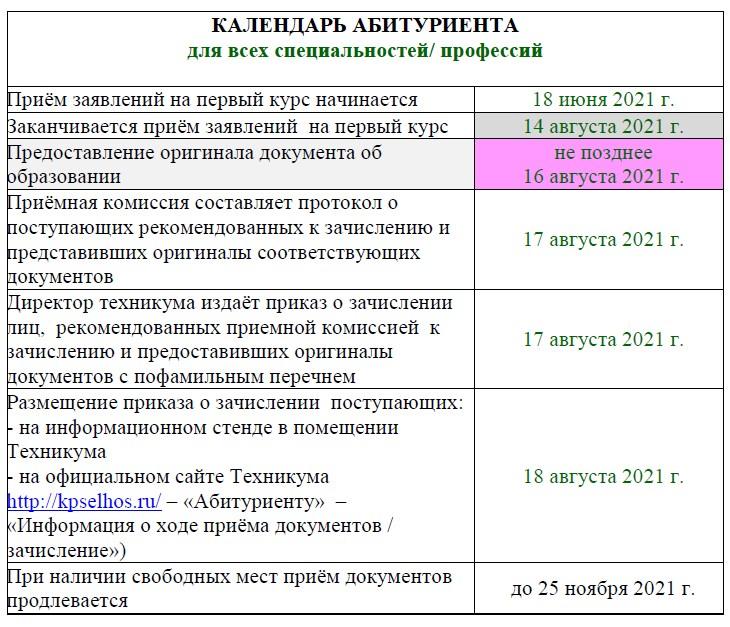 Календарь 2021